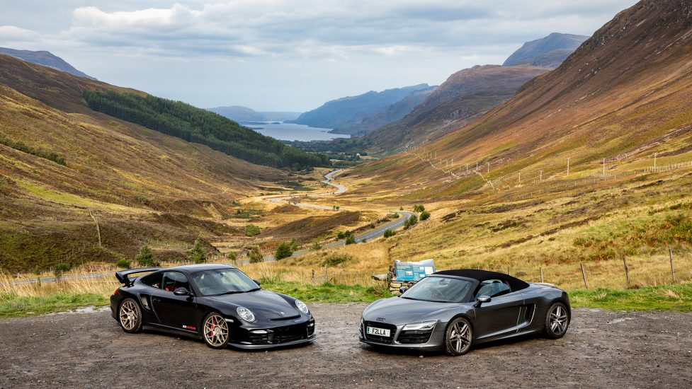 Porsche 911 GT2RS and an Audi R8 v10 on the NC500 Road Trip in Scotland